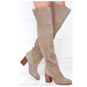 Jessica Simpson Ebyy Over Knee Taupe Suede Boots